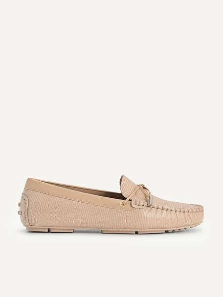 Lizard-effect Leather Bow Moccasins, Nude, hi-res