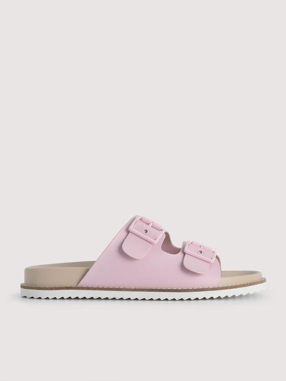 Double Strap Sandals, Light Pink, hi-res