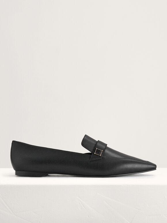 Embellished Leather Flats, Black, hi-res
