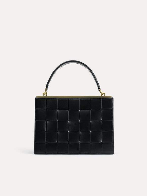 Woven Top Handle Bag, Black, hi-res