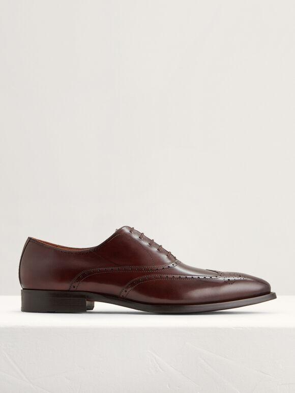 Brogue Leather Oxfords, Dark Brown, hi-res