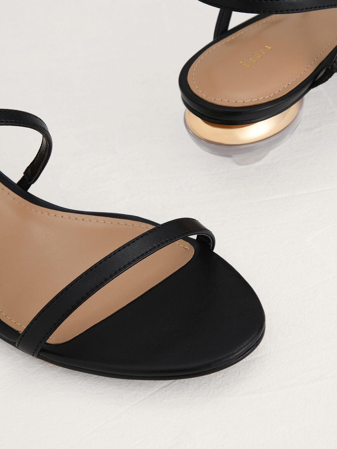 Strappy Heeled Slingback Sandals, Black, hi-res