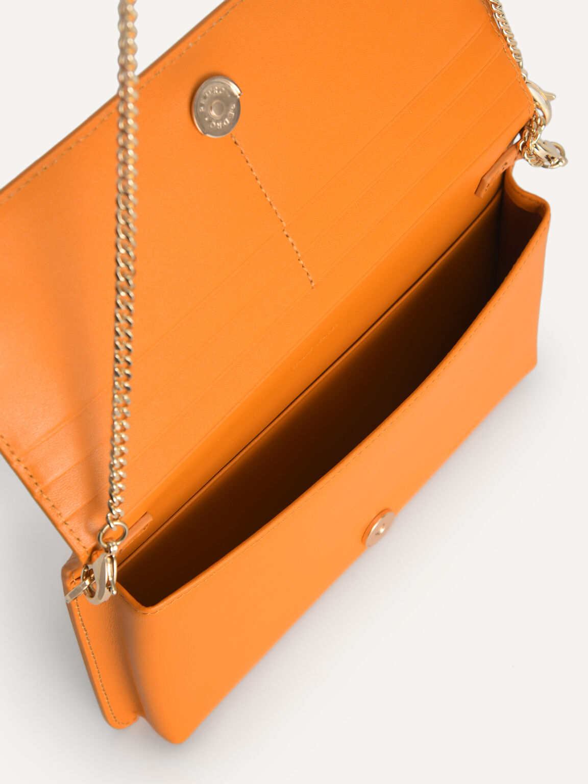 Long Leather Wallet, Orange, hi-res