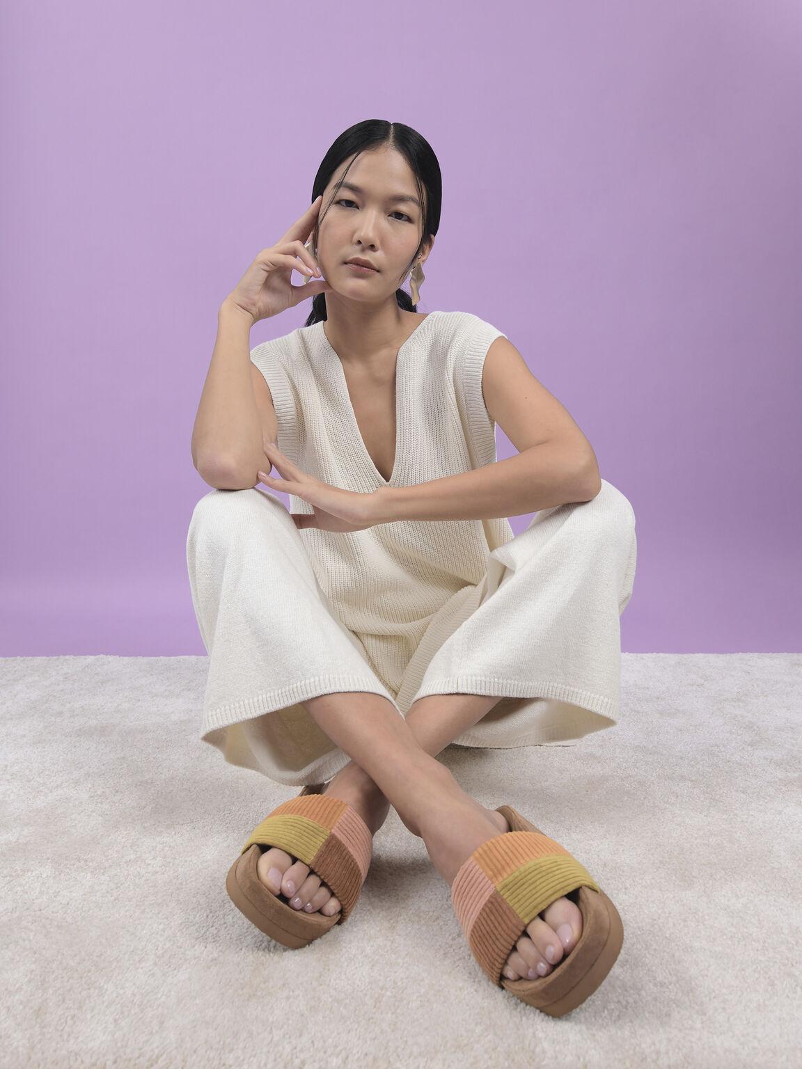Corduroy Flatform Sandals, Multi, hi-res