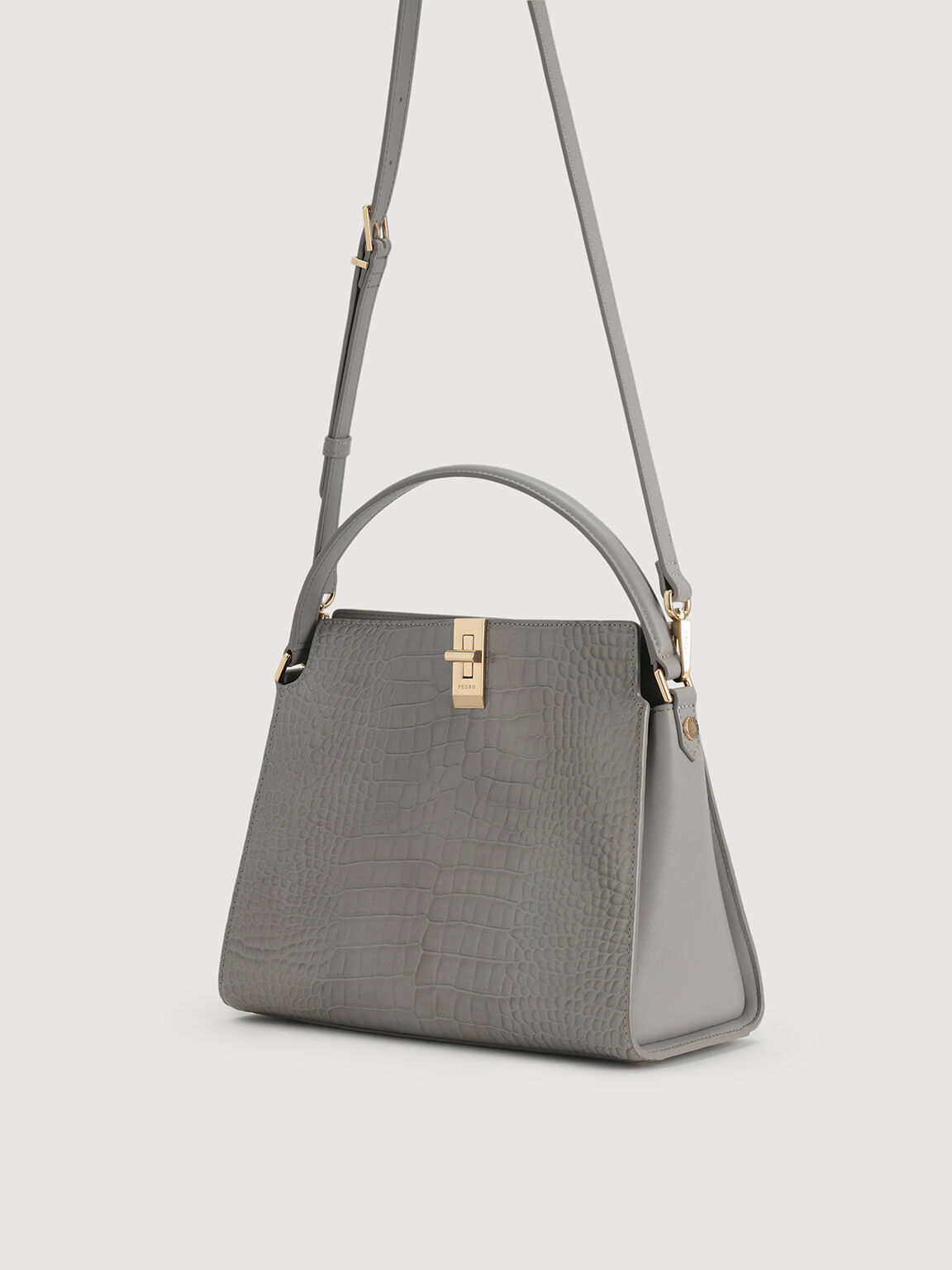 Embossed Leather Top Handle, Light Grey, hi-res