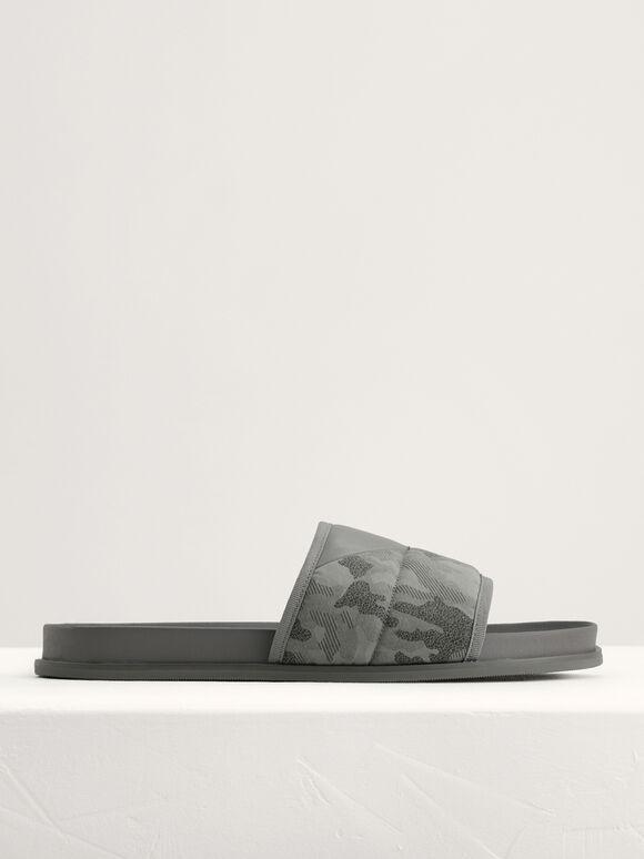 Camouflage Printed Sliders, Light Grey, hi-res