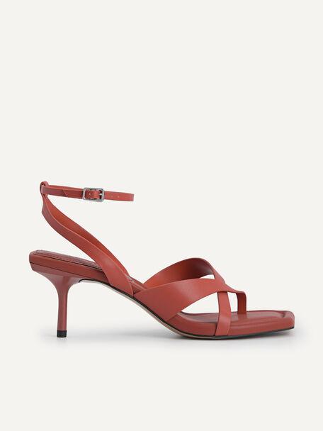 Strappy Square-Toe Heeled Sandals, Brick, hi-res