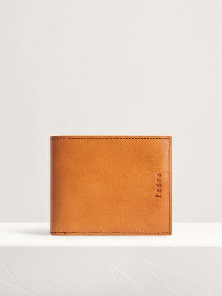 Leather Bi-Fold Wallet, Camel, hi-res