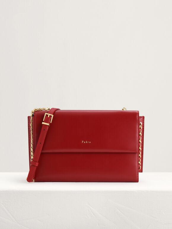 Front Flap Leather Shoulder Bag, Red, hi-res