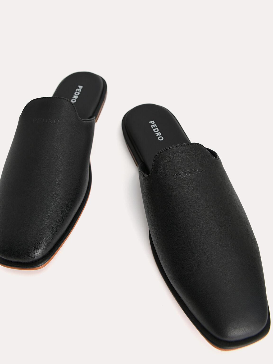 Slip-On Leather Mules, Black, hi-res