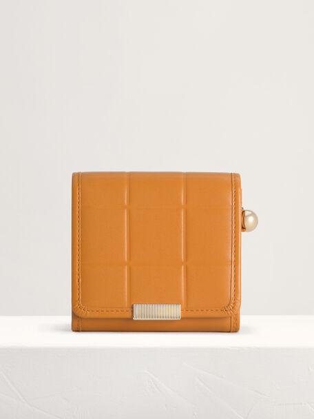 Qulited Leather Wallet, Mustard, hi-res