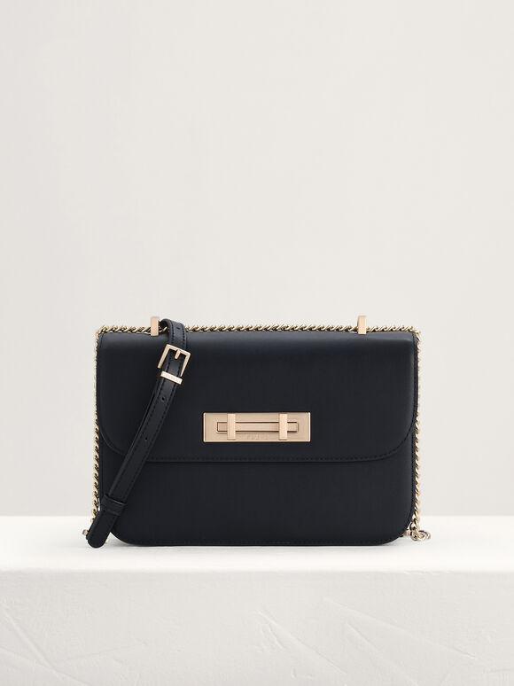 Boxy Leather Shoulder Bag, Black, hi-res