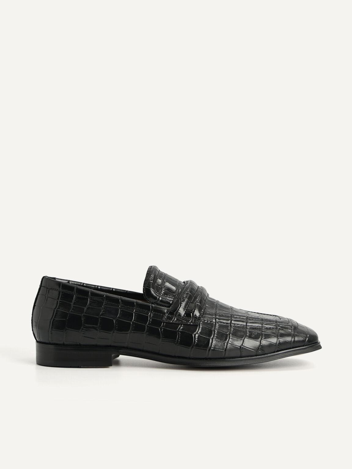 Croc-Effect Leather Loafers, Black, hi-res