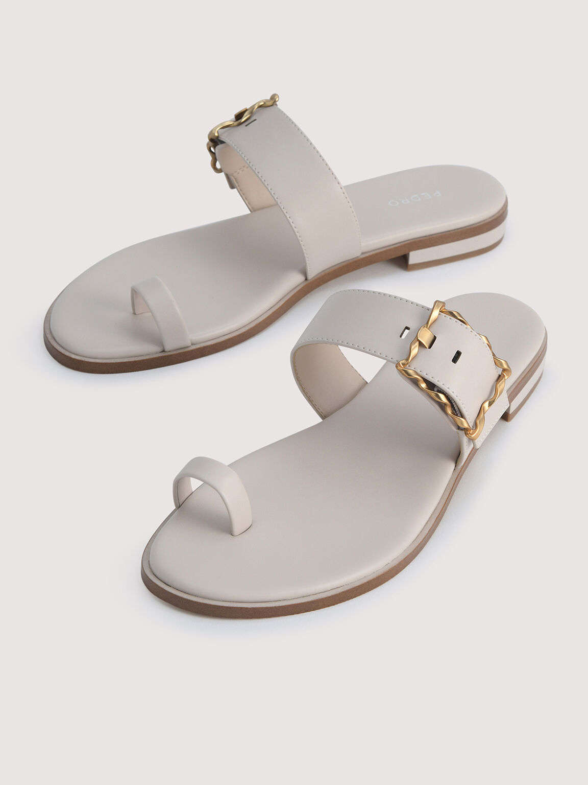 Toe Loop Sandals with Gold Buckle, Cream, hi-res