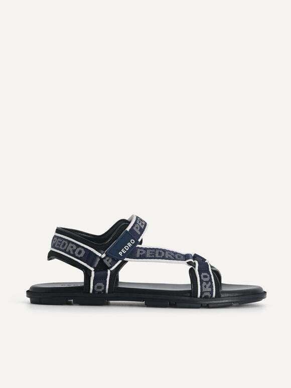 Nylon Velcro Sandals, Navy, hi-res