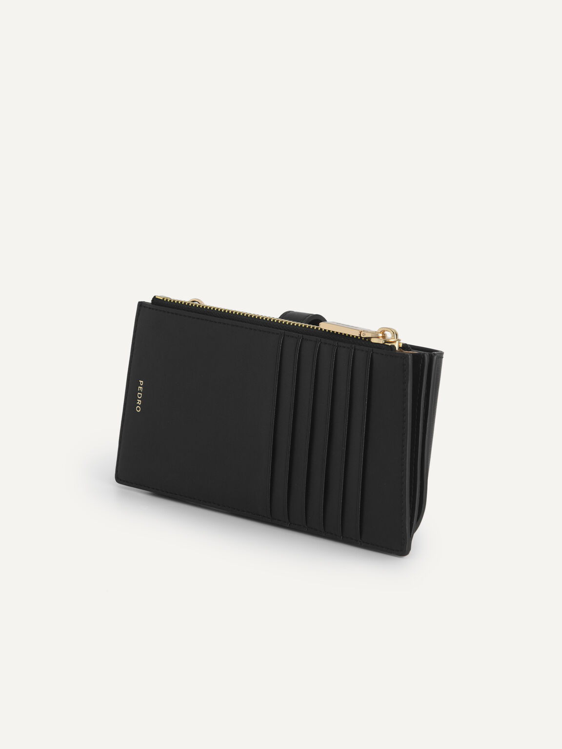 Textured Leather Phone Pouch, Black, hi-res
