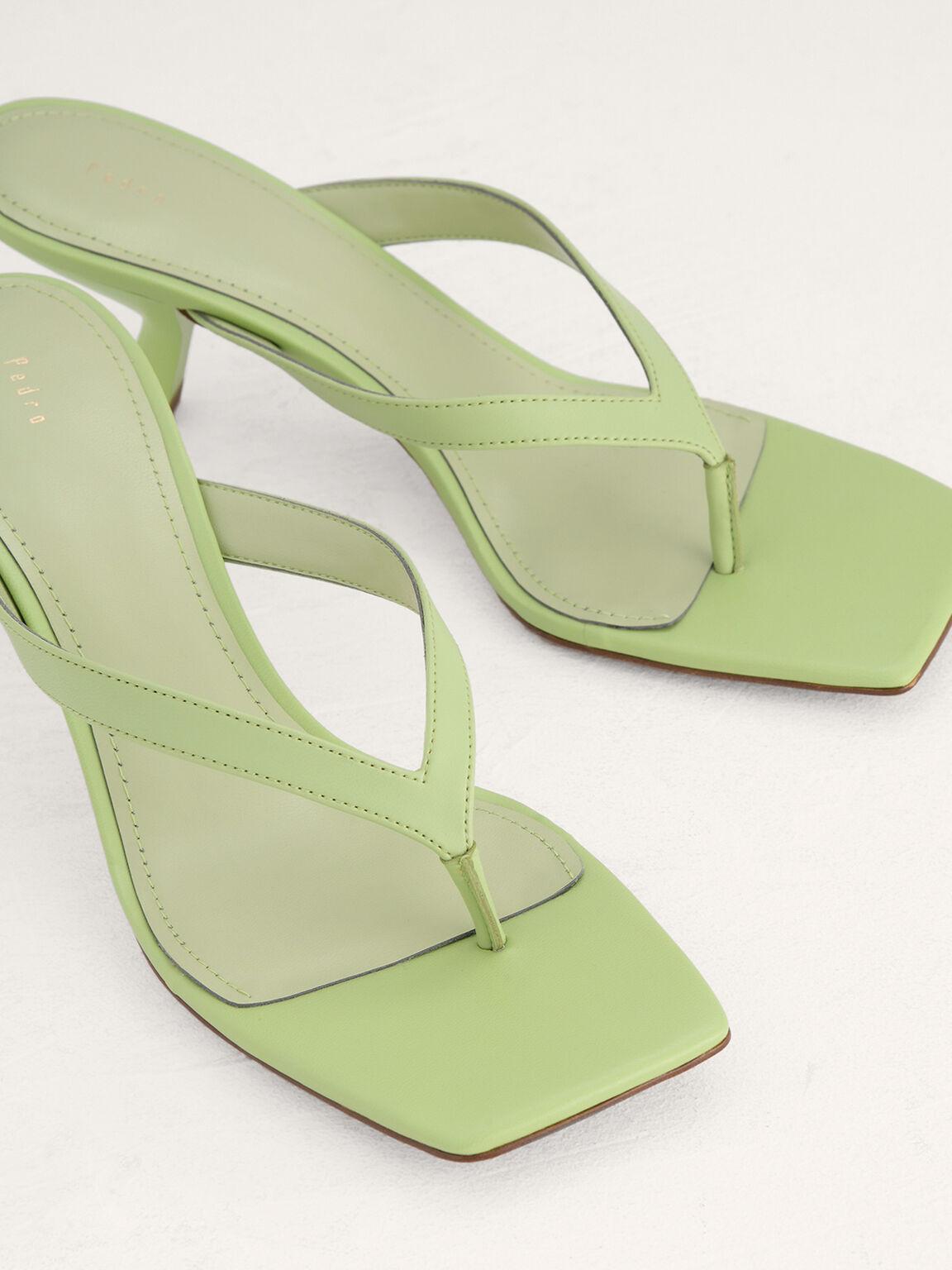 Square Toe Thong Heeled Sandals, Light Green, hi-res
