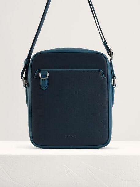 Embossed Leather Sling Bag, Navy, hi-res