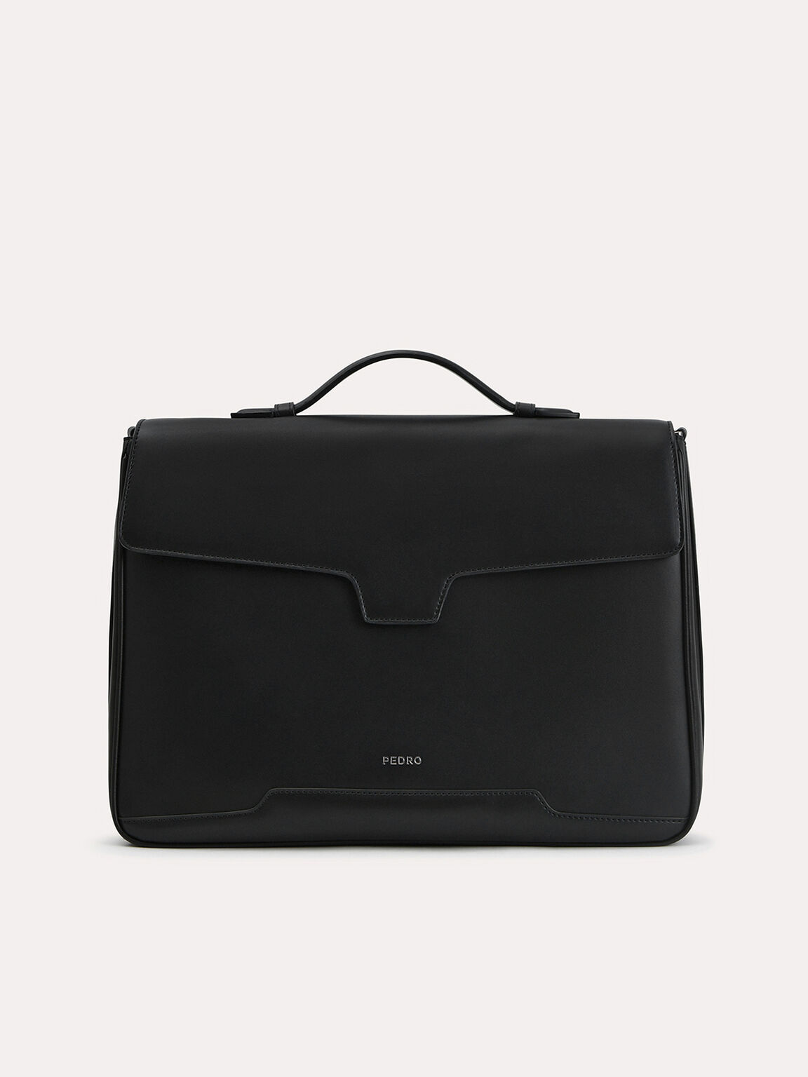 Leather Briefcase, Black, hi-res
