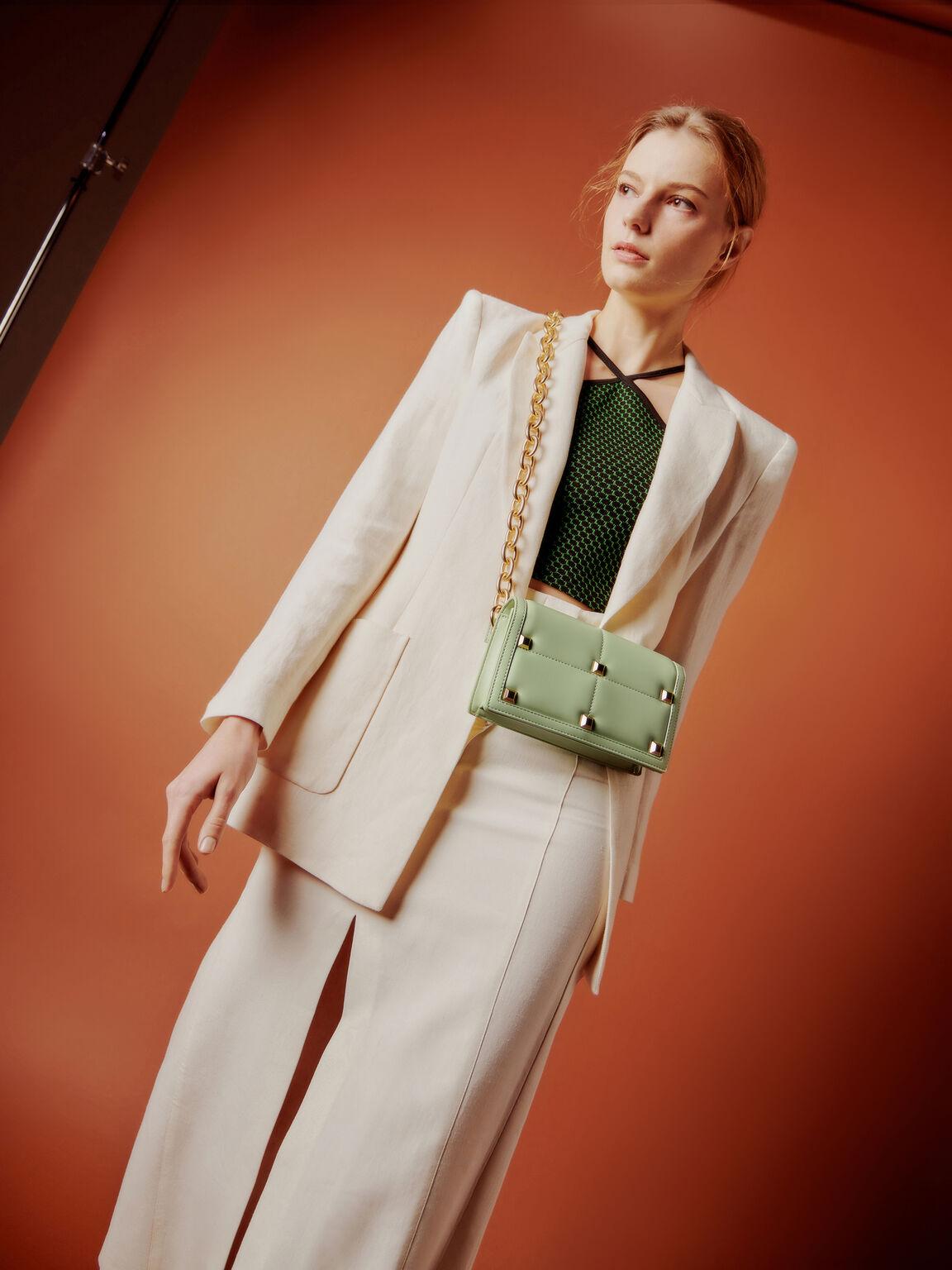 Mini Quilted Shoulder Bag, Light Green, hi-res