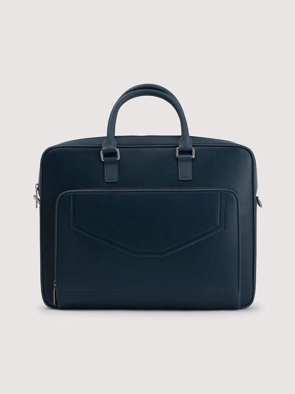 Leather Double Handle Briefcase, Navy, hi-res