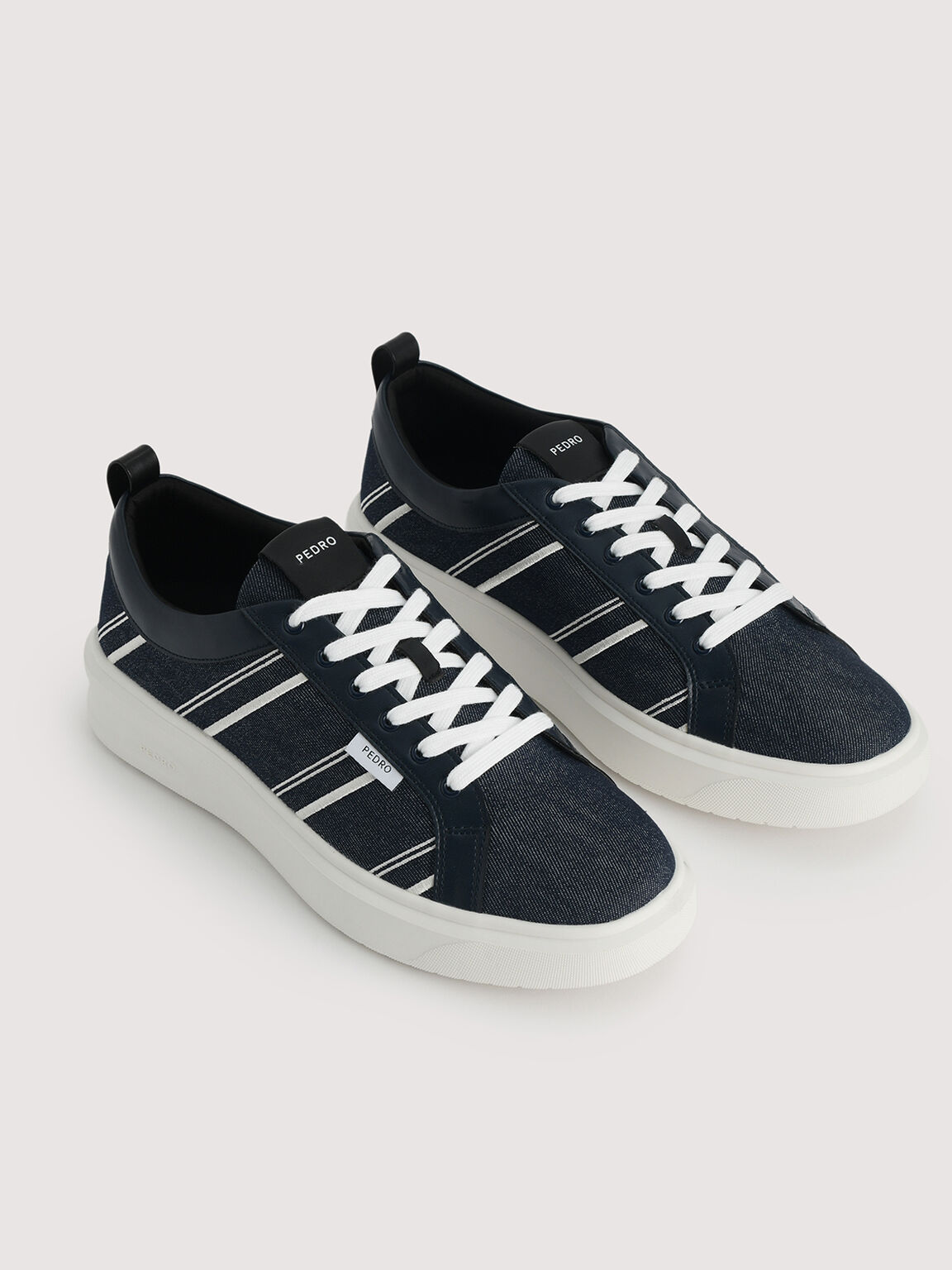 Sustainable Court Sneakers, Navy, hi-res