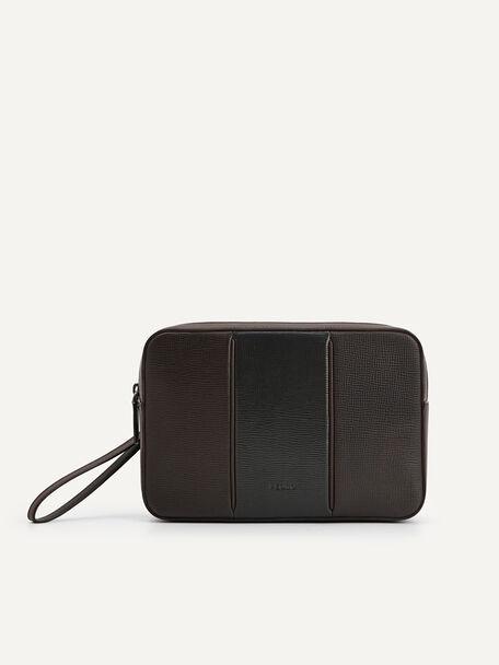 Textured Leather Pouch, Dark Brown, hi-res