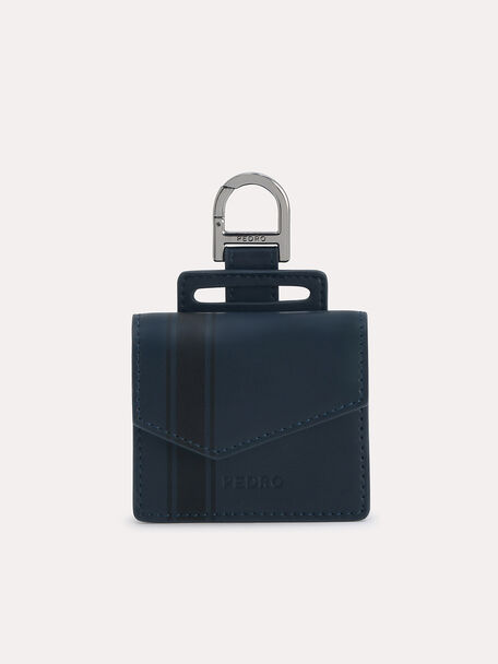 Leather Airpods Pro Case, Navy, hi-res