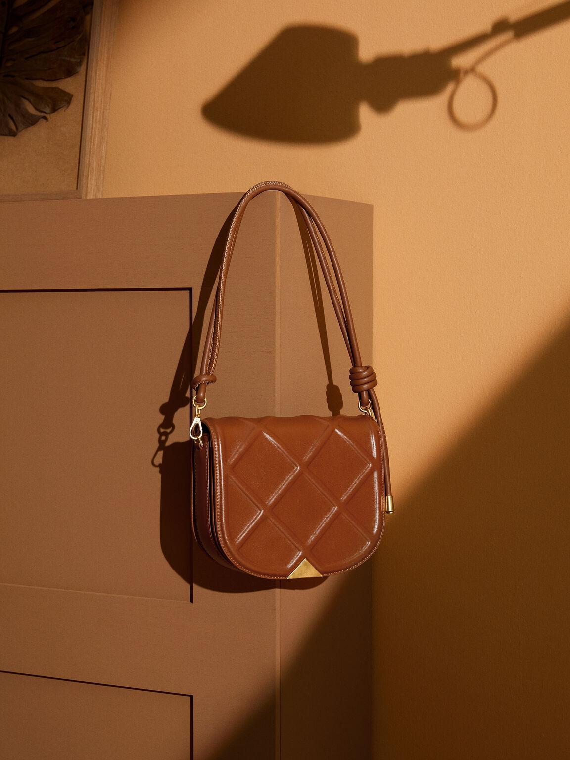 Quilted Shoulder Bag, Cognac, hi-res