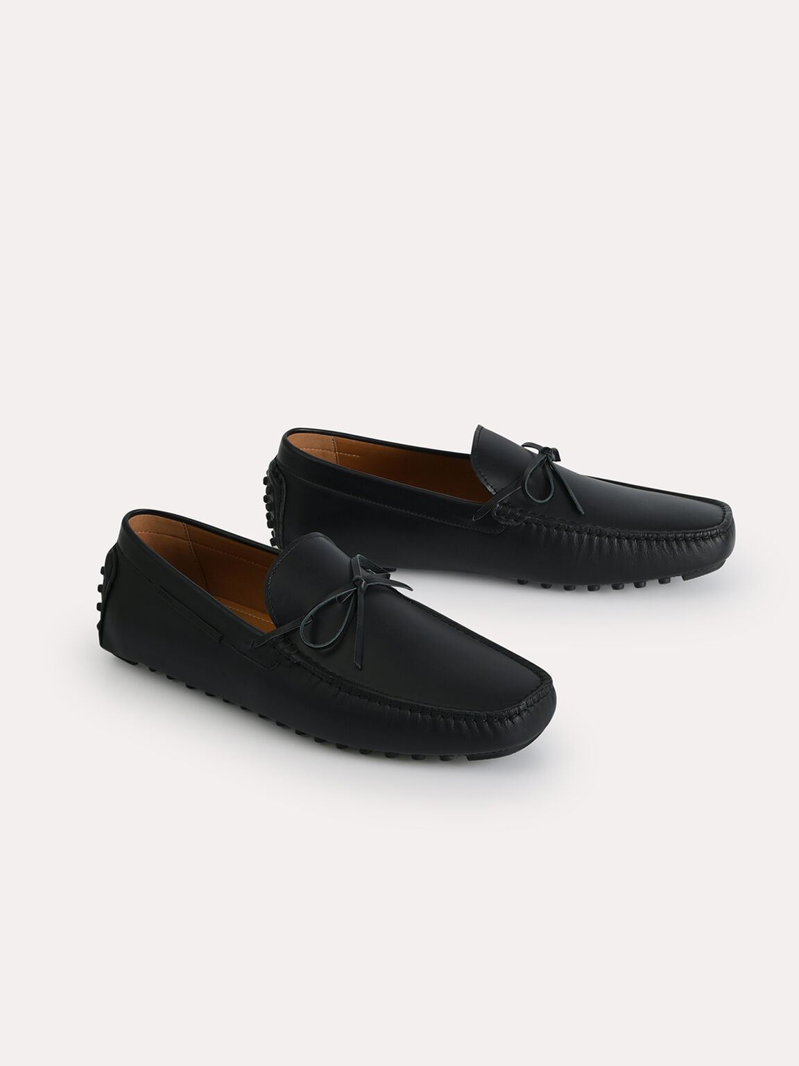 Leather Moccasins with Bow Detailing, Black, hi-res