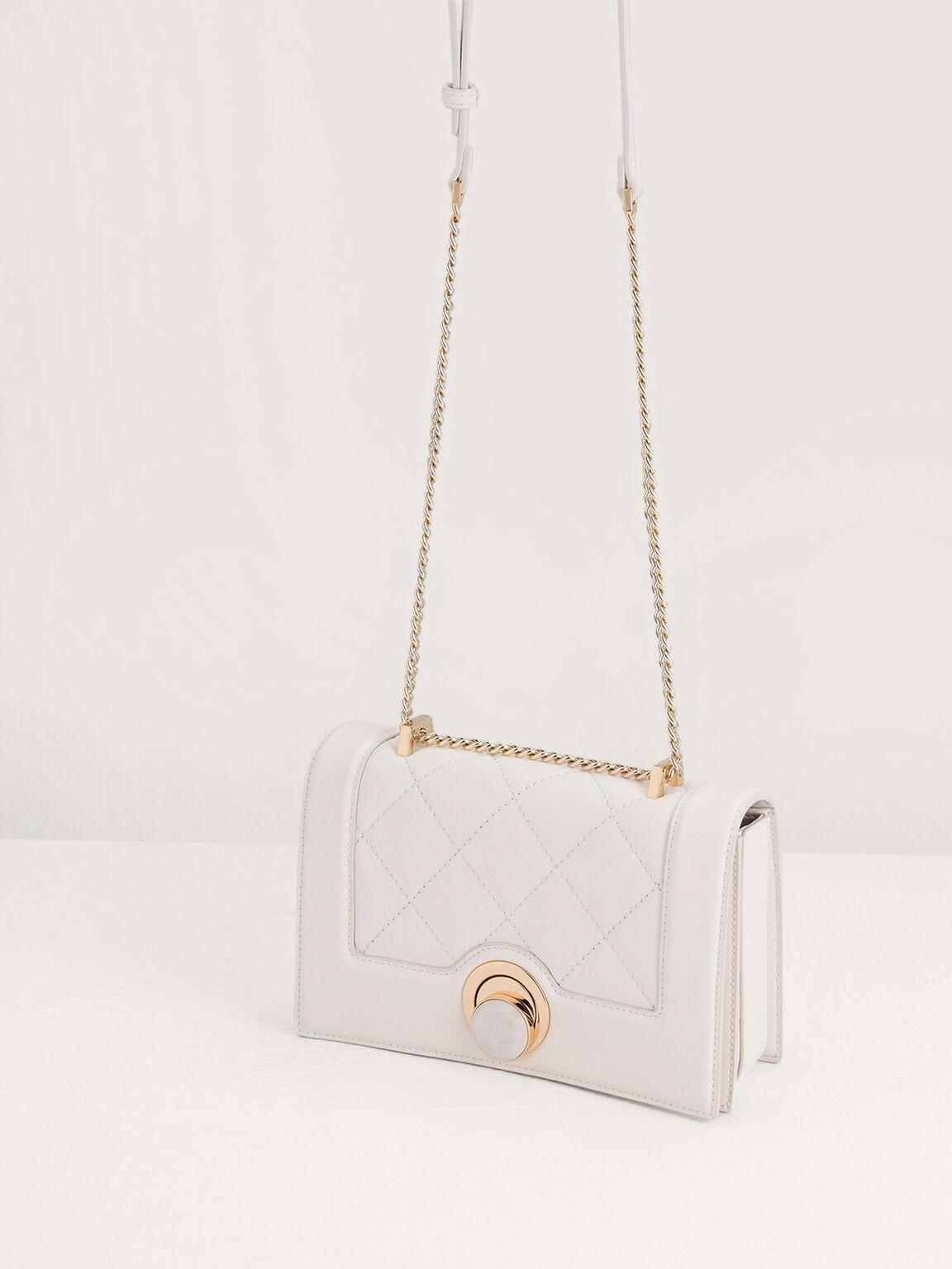 Quilted Shoulder Bag, Cream, hi-res