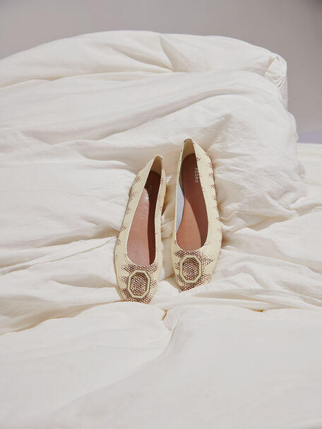 Printed Leather Ballerina Flats, Multi, hi-res