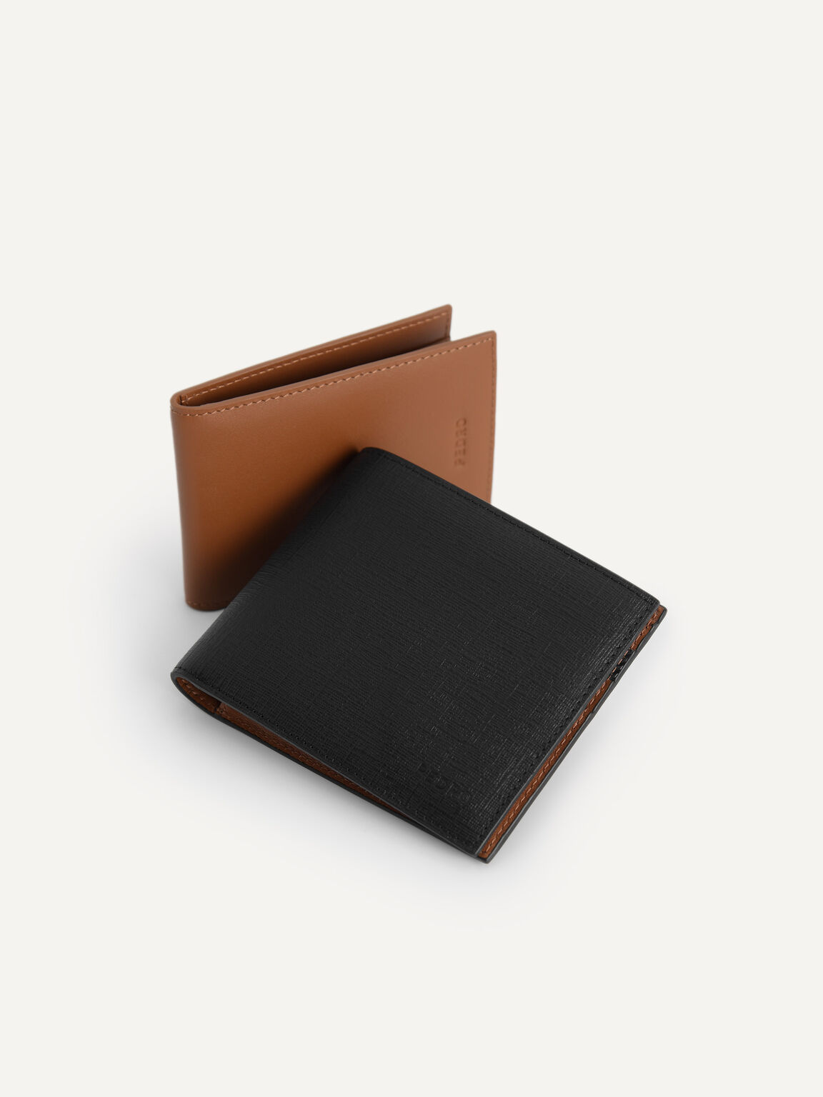 Textured Leather Bi-Fold Wallet with Insert, Black, hi-res