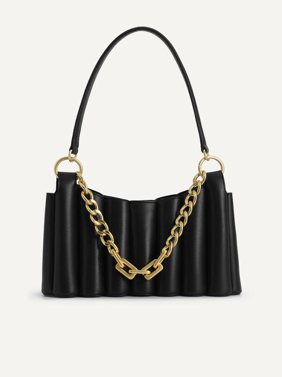 Harp Hobo Bag, Black, hi-res