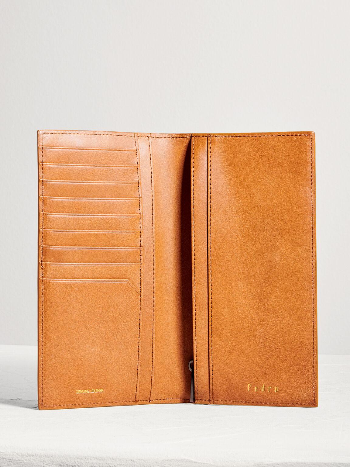 Leather Long Wallet, Camel, hi-res