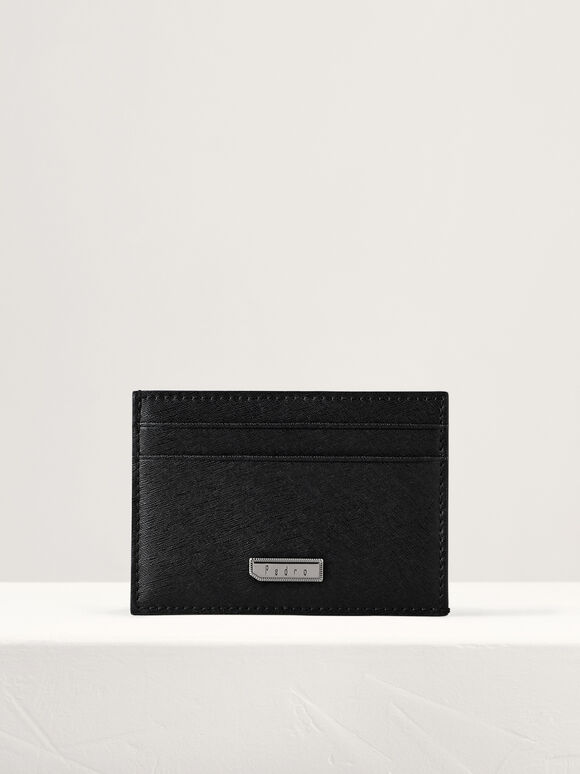 Flat Leather Card Holder, Black, hi-res