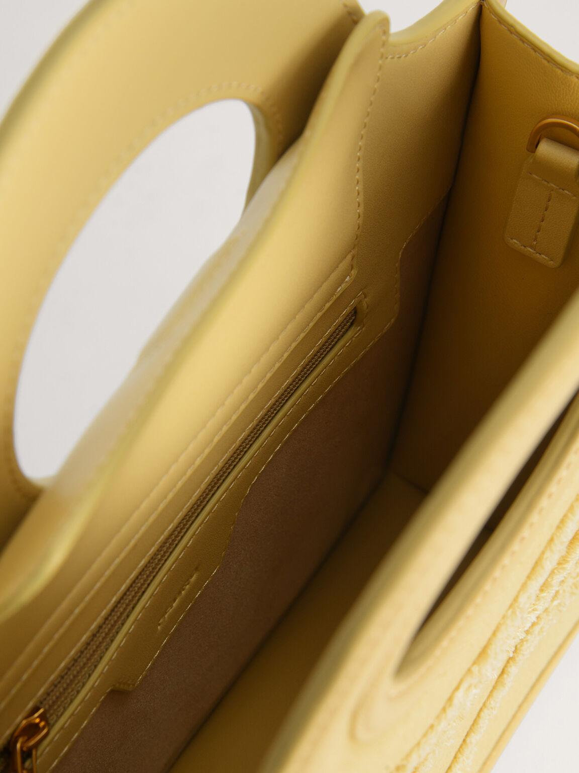 Denim Structured Tote, Yellow, hi-res