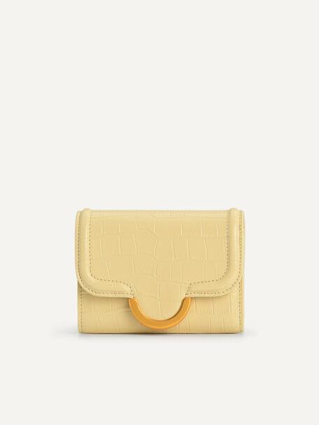 Croc-Effect Bi-Fold Wallet, Light Yellow, hi-res