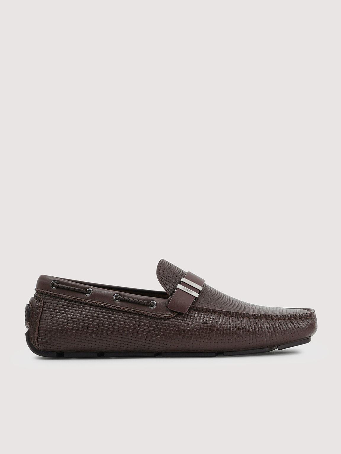 Embossed Buckled Leather Moccasin, Dark Brown, hi-res