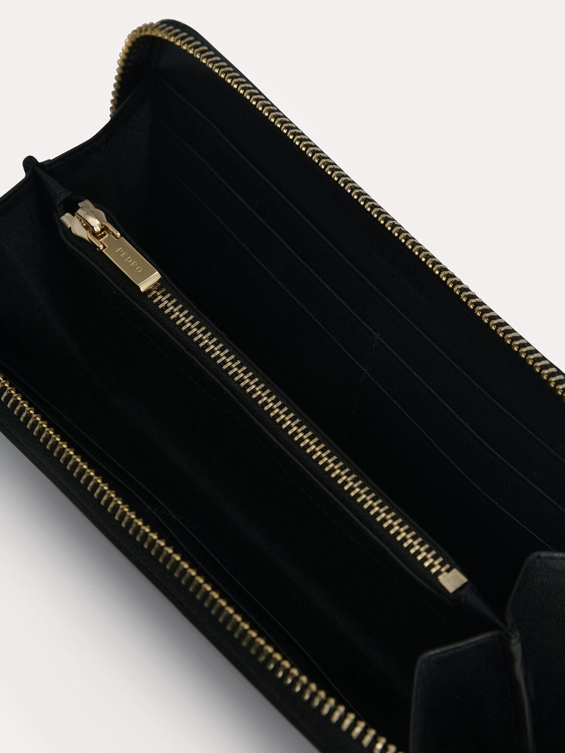 Long Leather Zip Wallet, Black, hi-res