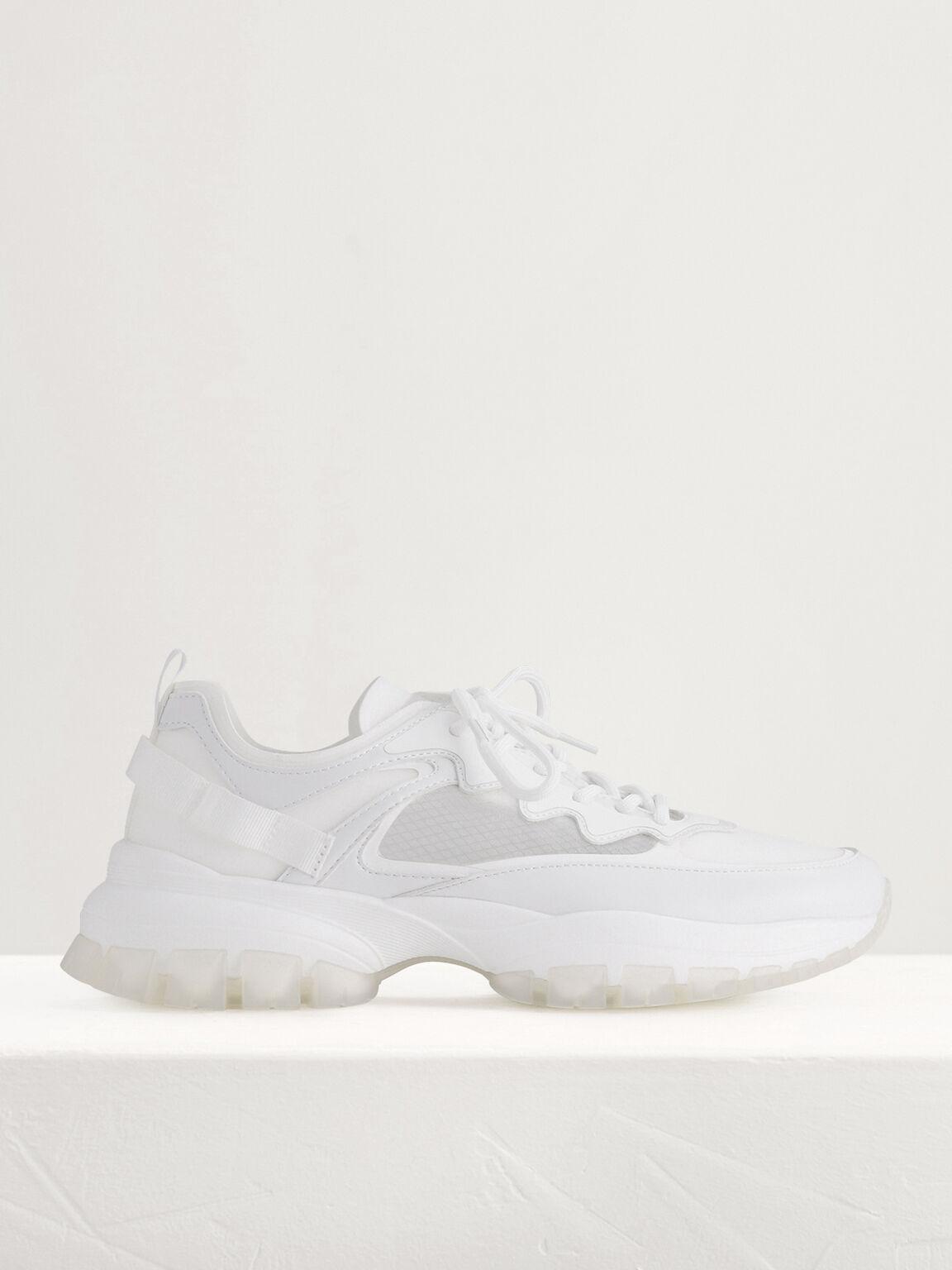 Casual Mesh Sneakers, White, hi-res