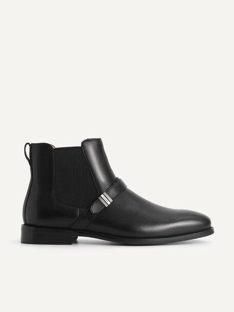 Leather Strapped Boots, Black, hi-res