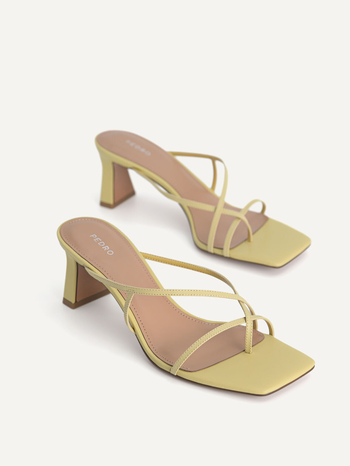Strappy Toe Loop Heeled Sandals, Light Green, hi-res