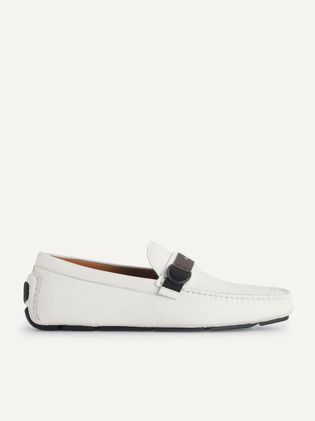 Leather Moccasins, White, hi-res