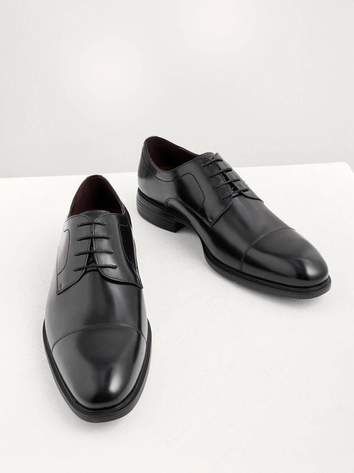 Lightweight Leather Cap Toe Derby Shoes, Black, hi-res