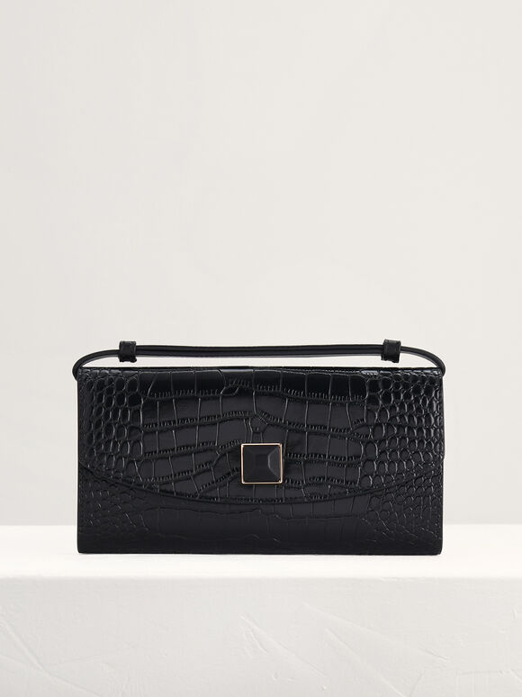 Croc-Effect Leather Wallet On Chain, Black, hi-res