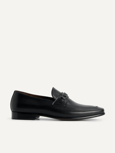 Leather Loafers with Metal Bit, Black, hi-res