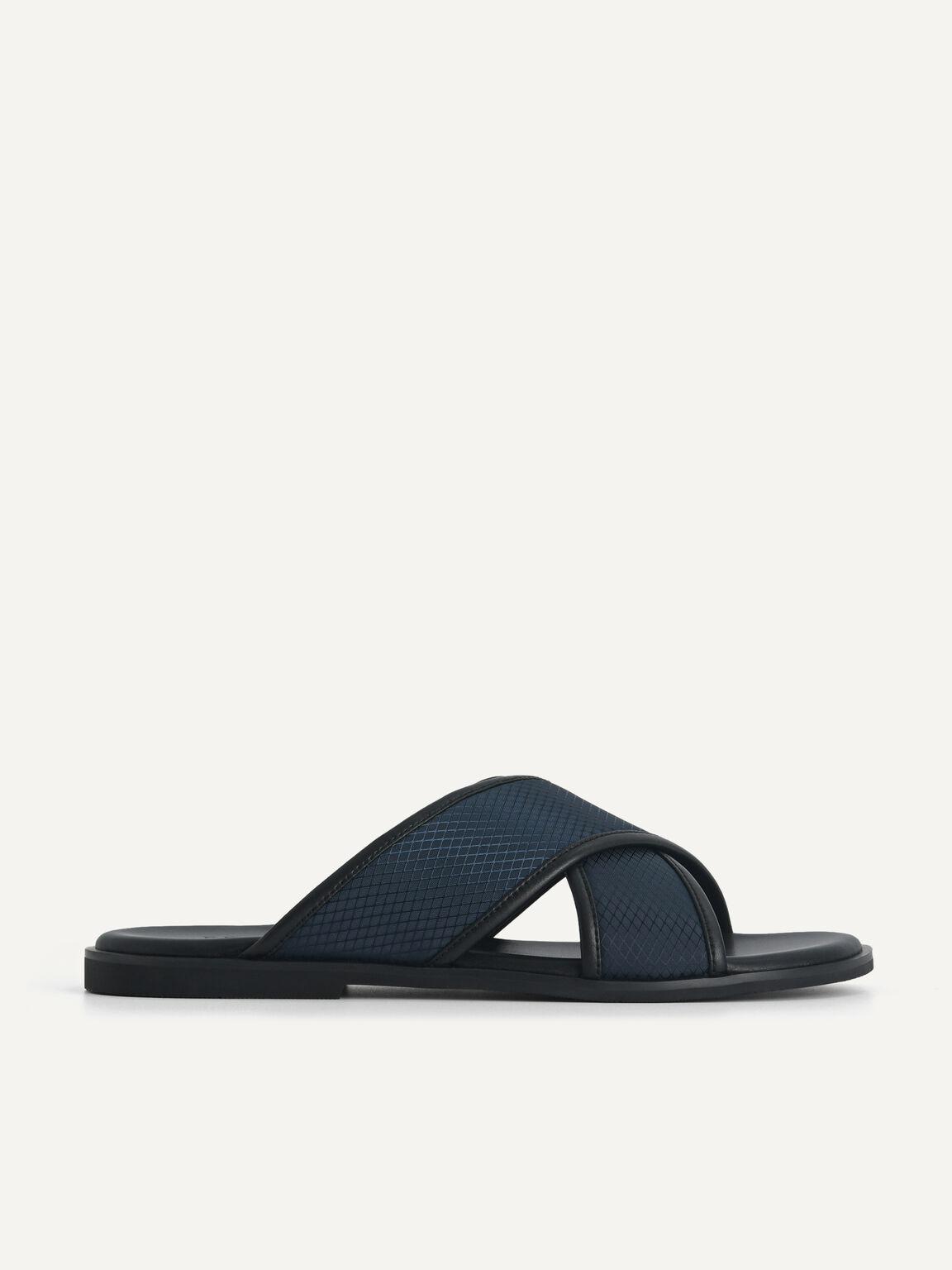 Criss-Cross Strap Sandals, Navy, hi-res