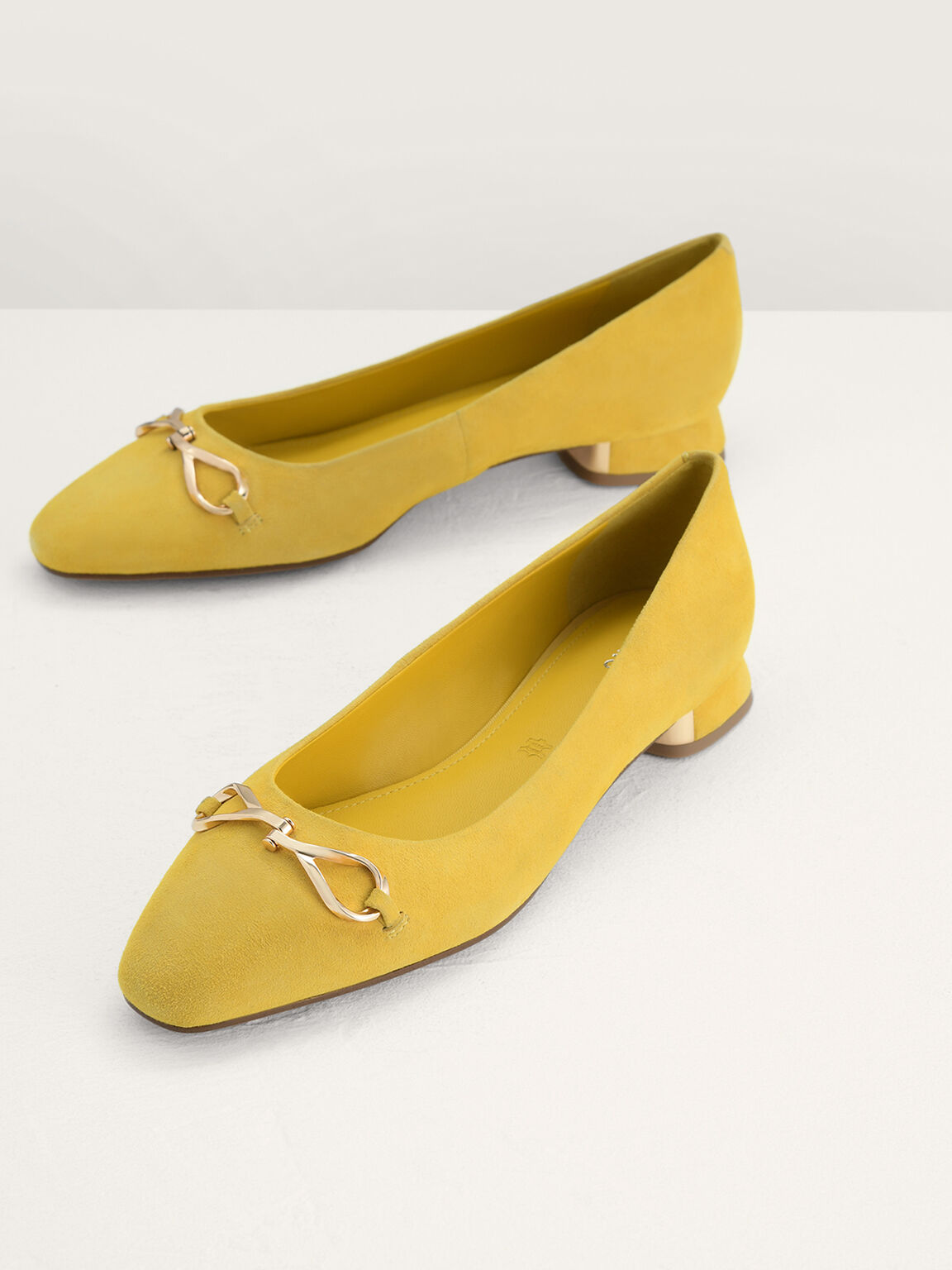 Suede Leather Ballerina Flats, Yellow, hi-res