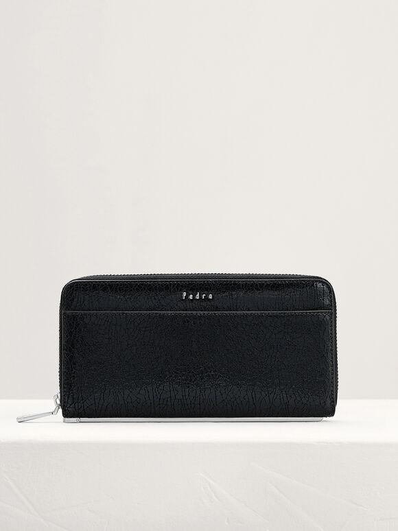 Cracked Leather Long Wallet, Black, hi-res
